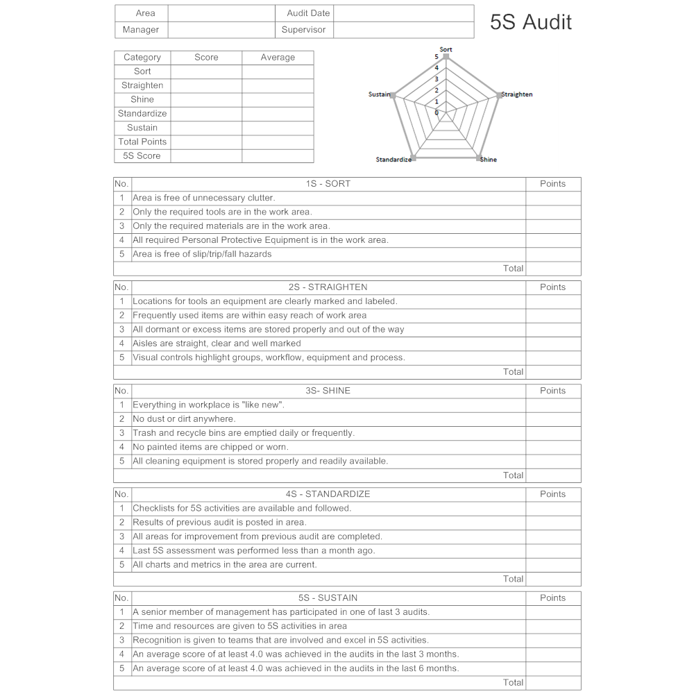 Example Image: 5S Audit Form - Type 2
