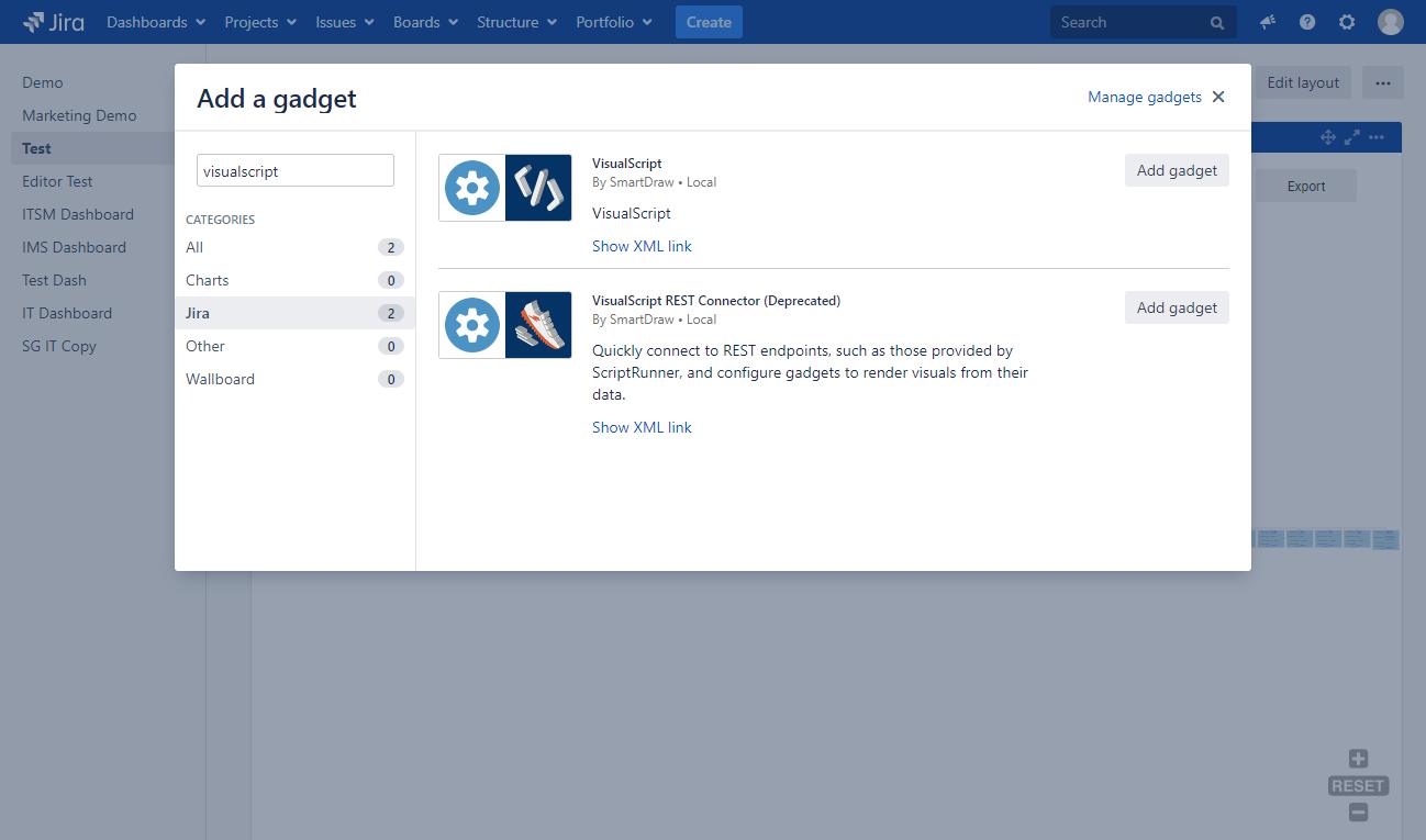 VisualScript Studio Gadgets in Jira