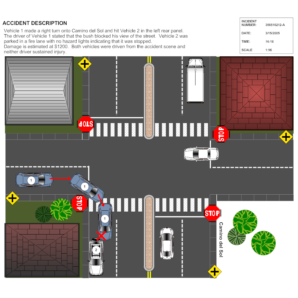 Example Image: 4-Way Intersection Accident Reconstruction