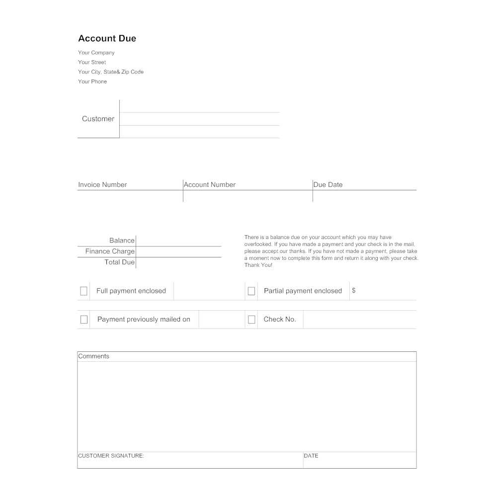 Example Image: Account Due Collections Form