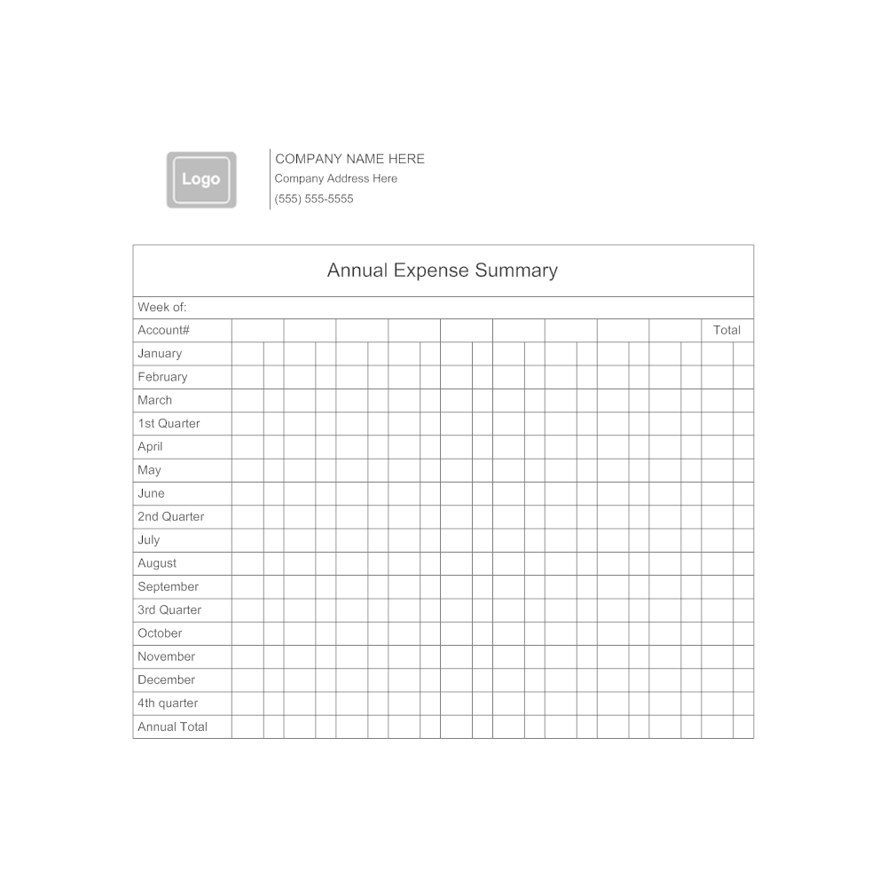 Example Image: Annual Expense Summary Form