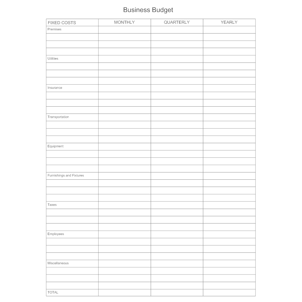 Example Image: Business Budget Form