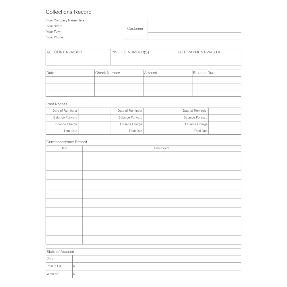 Example Image: Collections Record Form