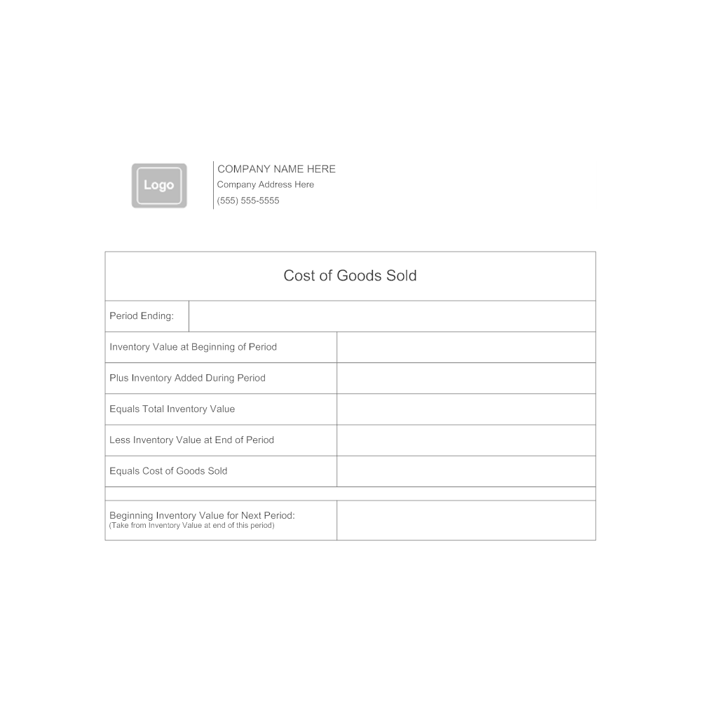 Example Image: Cost of Goods Sold Form