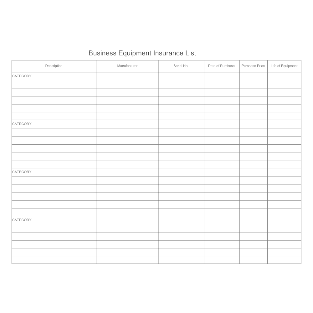 Example Image: Equipment Insurance List Form