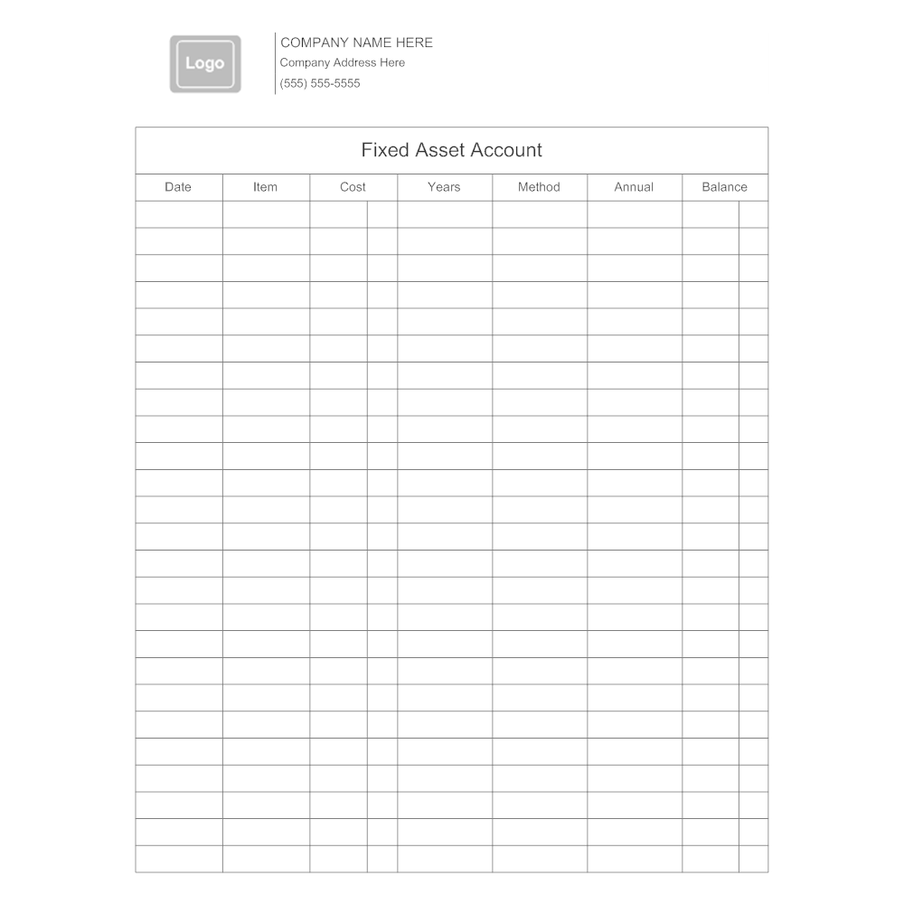 Example Image: Fixed Asset Account Form