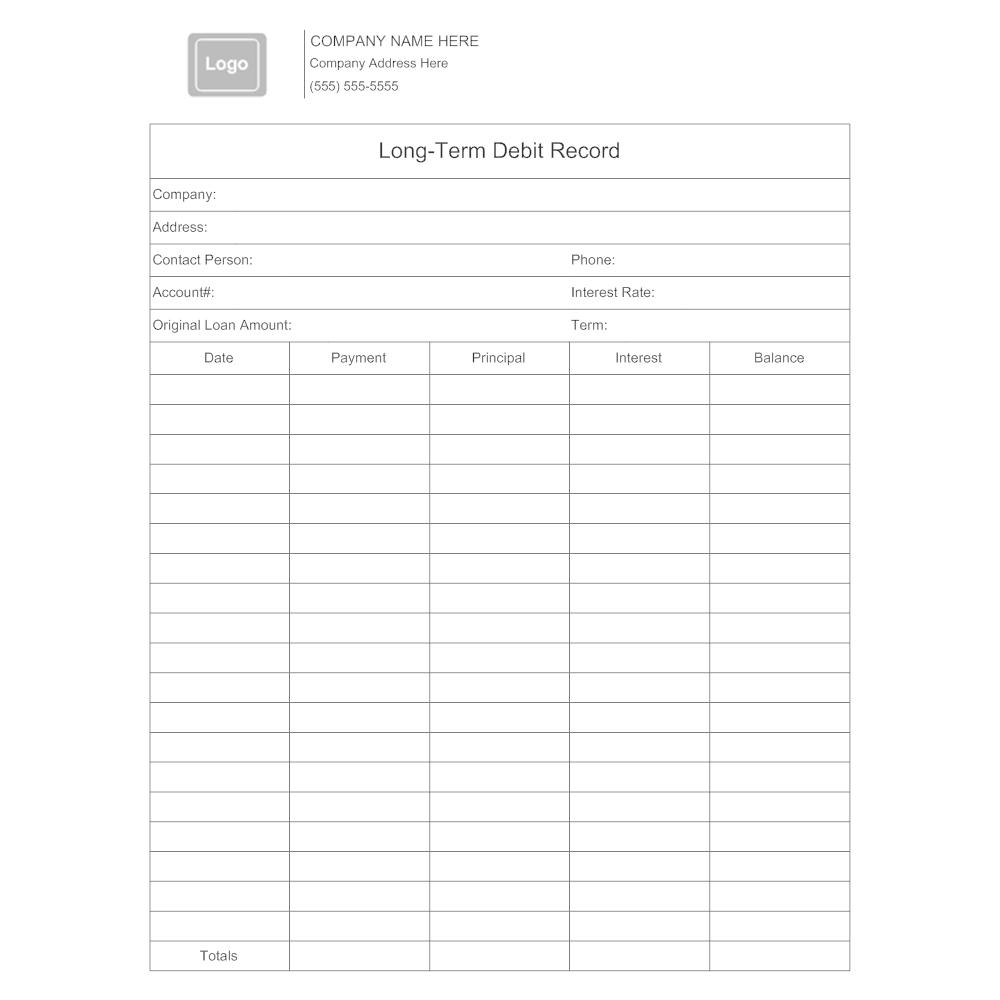 Example Image: Long-Term Debit Record Form