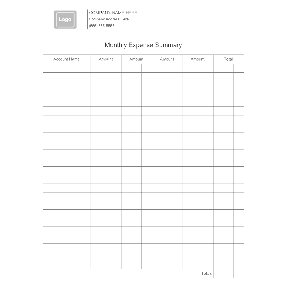 summary of expenses format