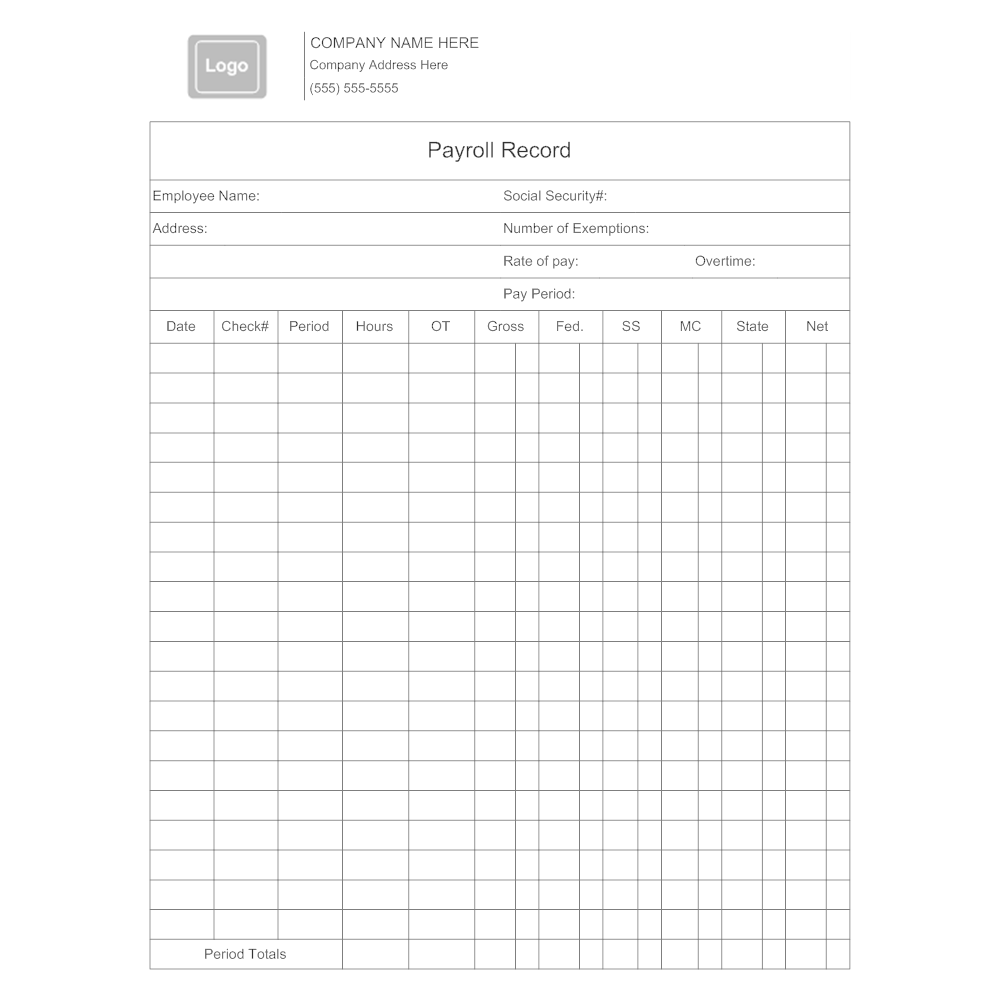 CLICK TO EDIT THIS EXAMPLE · Example Image: Payroll Record  Employee Payroll Record Template