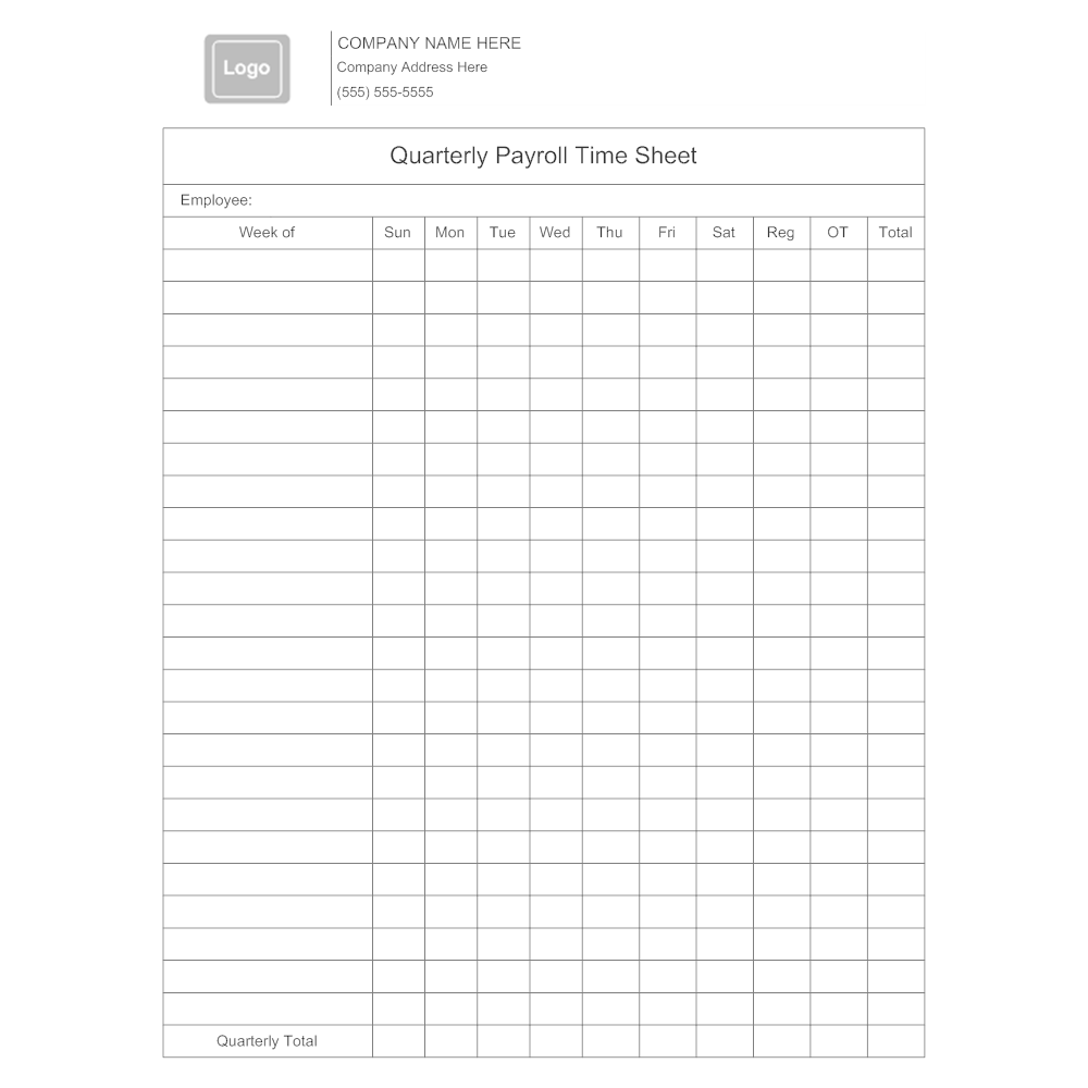 Example Image: Quarterly Payroll Time Sheet