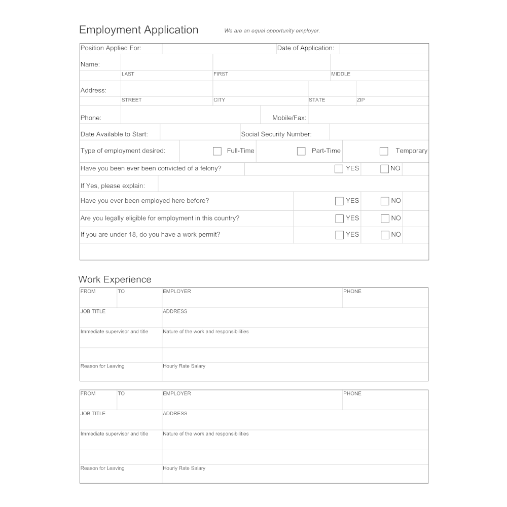 examples of employment applications