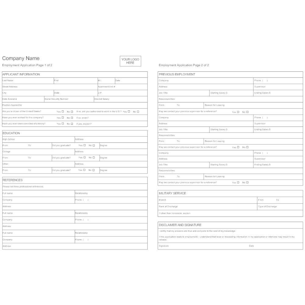 Example Image: Employment Application