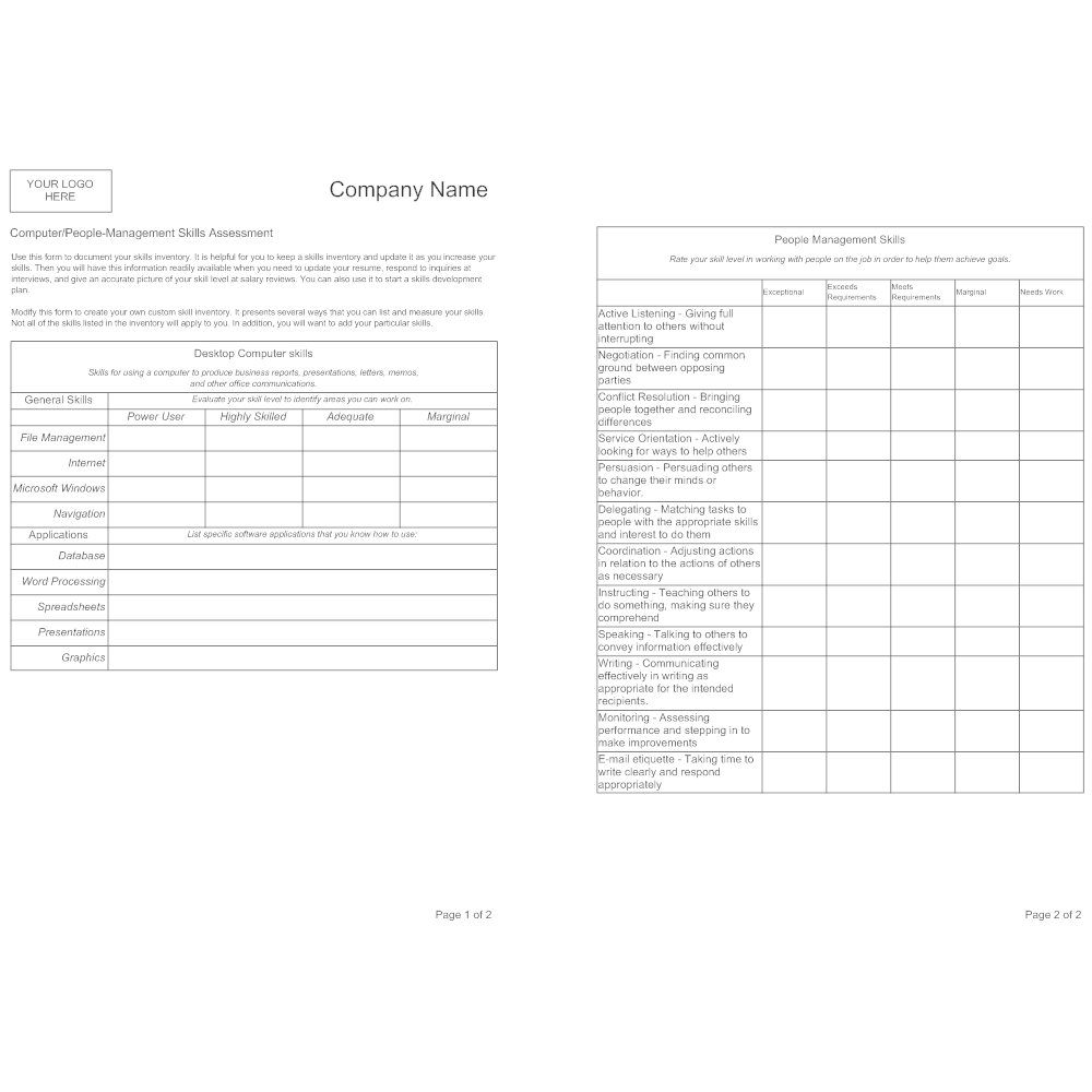 skills assessment templates