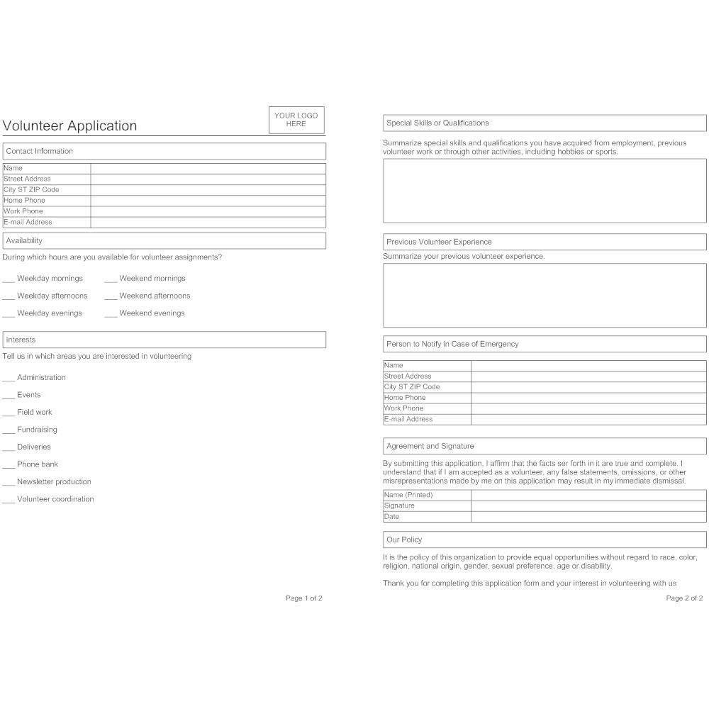 Example Image: Volunteer Application Form