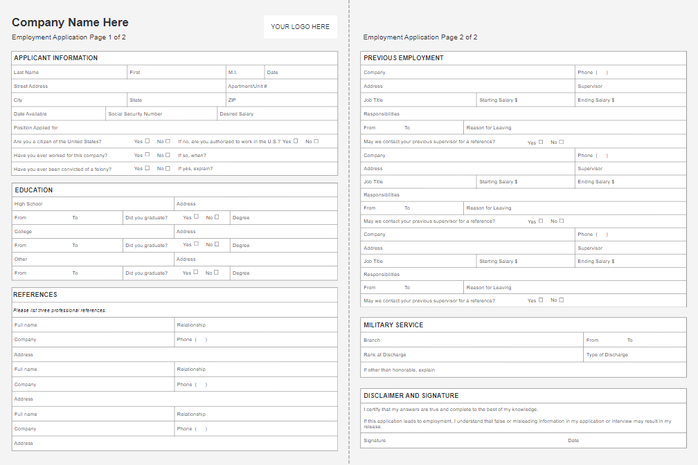 Employment application form software