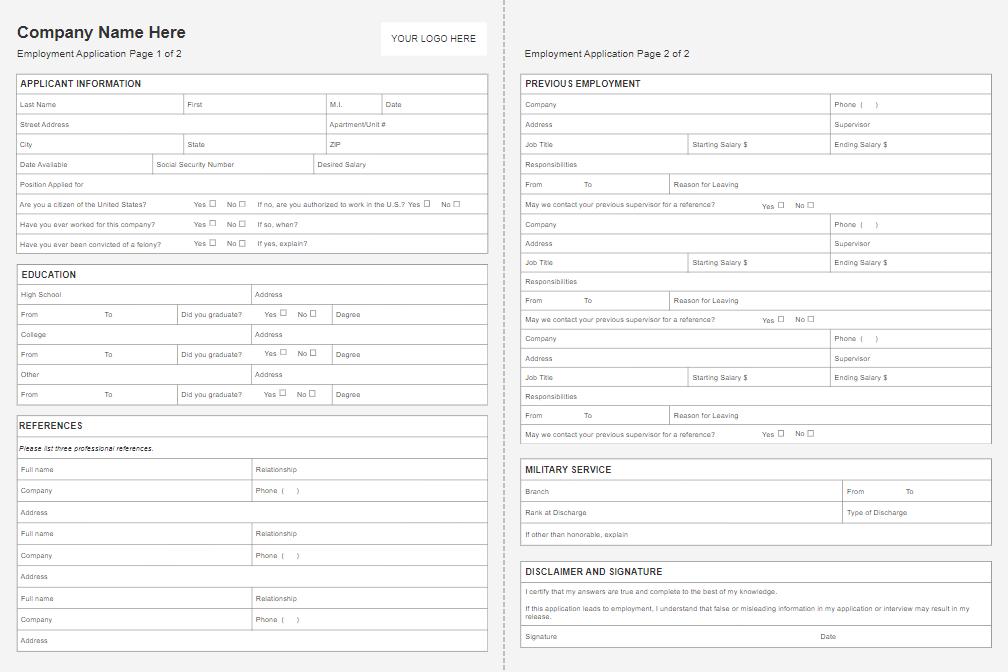 Employment application form software