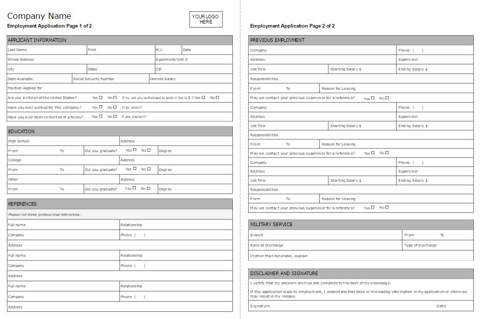 simple job application form samples