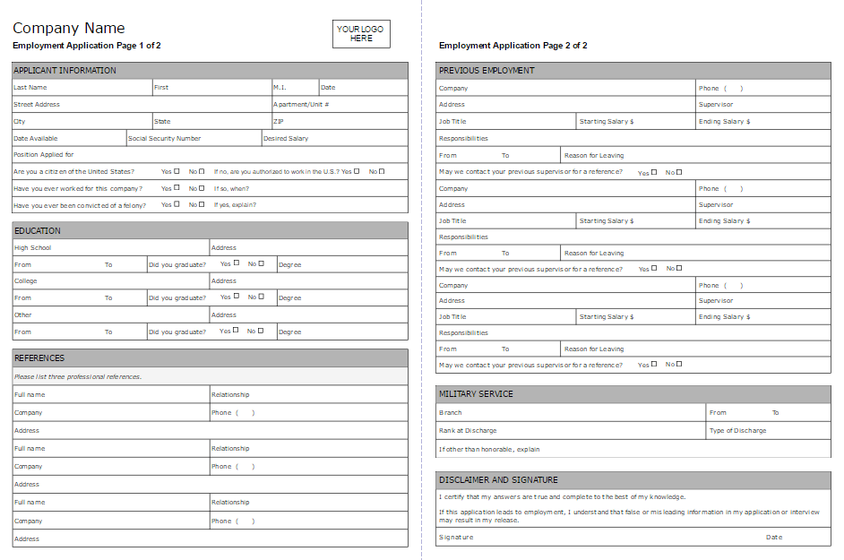 employment applications forms