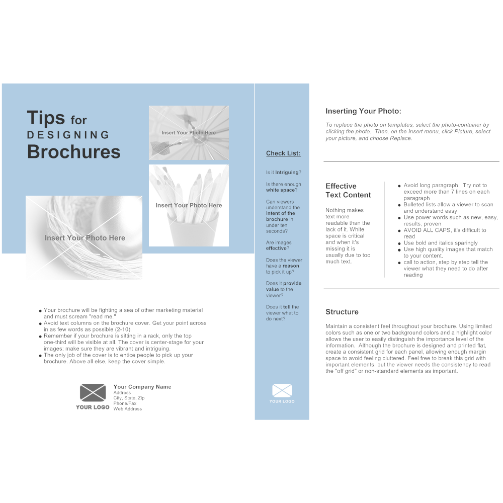 Single page brochure for Brochure template for pages