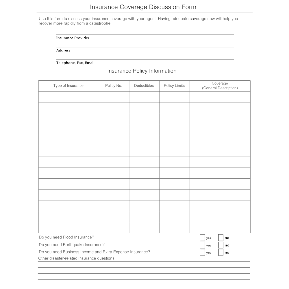 Wedding Insurance Coverage: Insurance Coverage Discussion Form