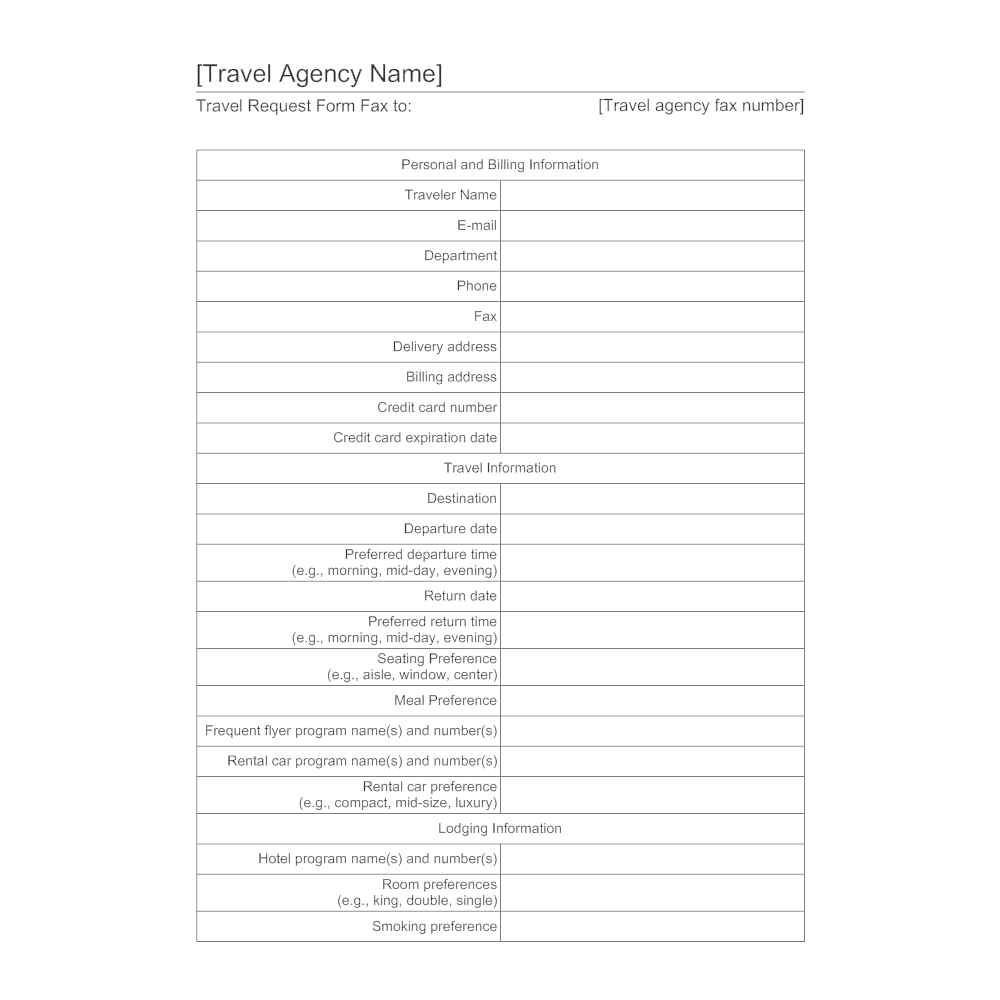 Example Image: Travel Agency Form