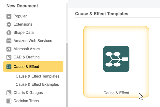 Cause and effect diagram template