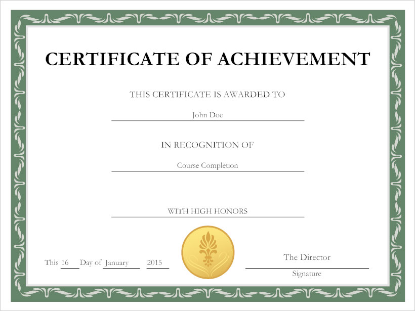 Certificate Example  Certificate Of Achievement Sample