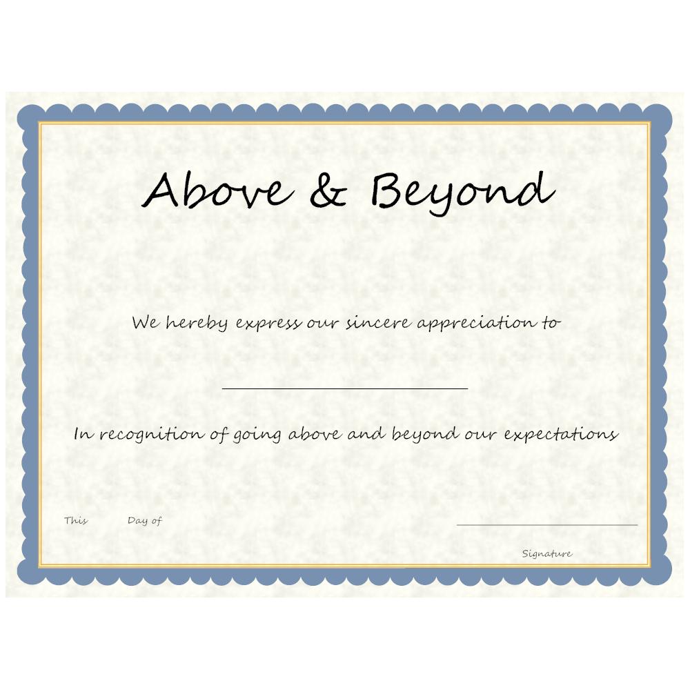 Example Image: Above & Beyond Award