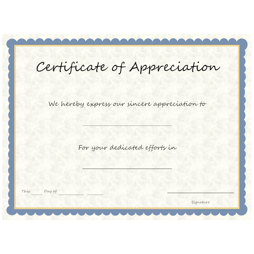 Example Image: Certificate of Appreciation