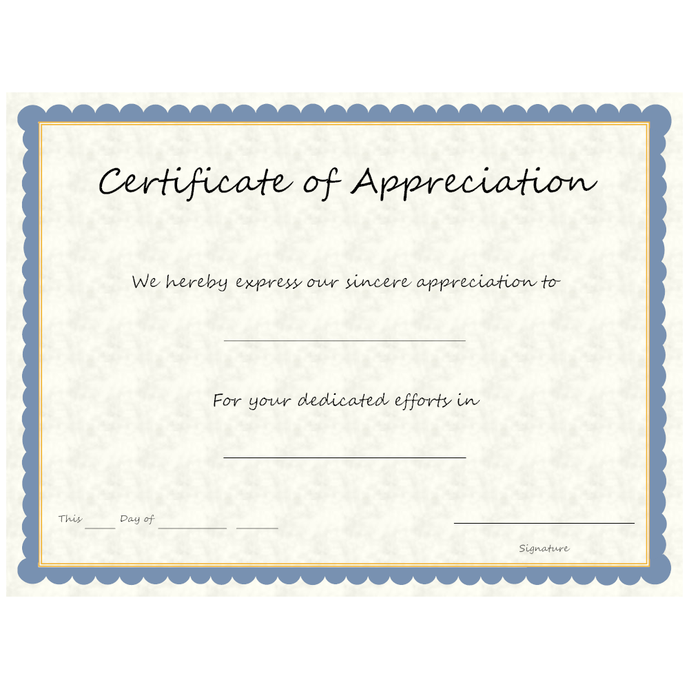 Example Image: Certificate of Appreciation