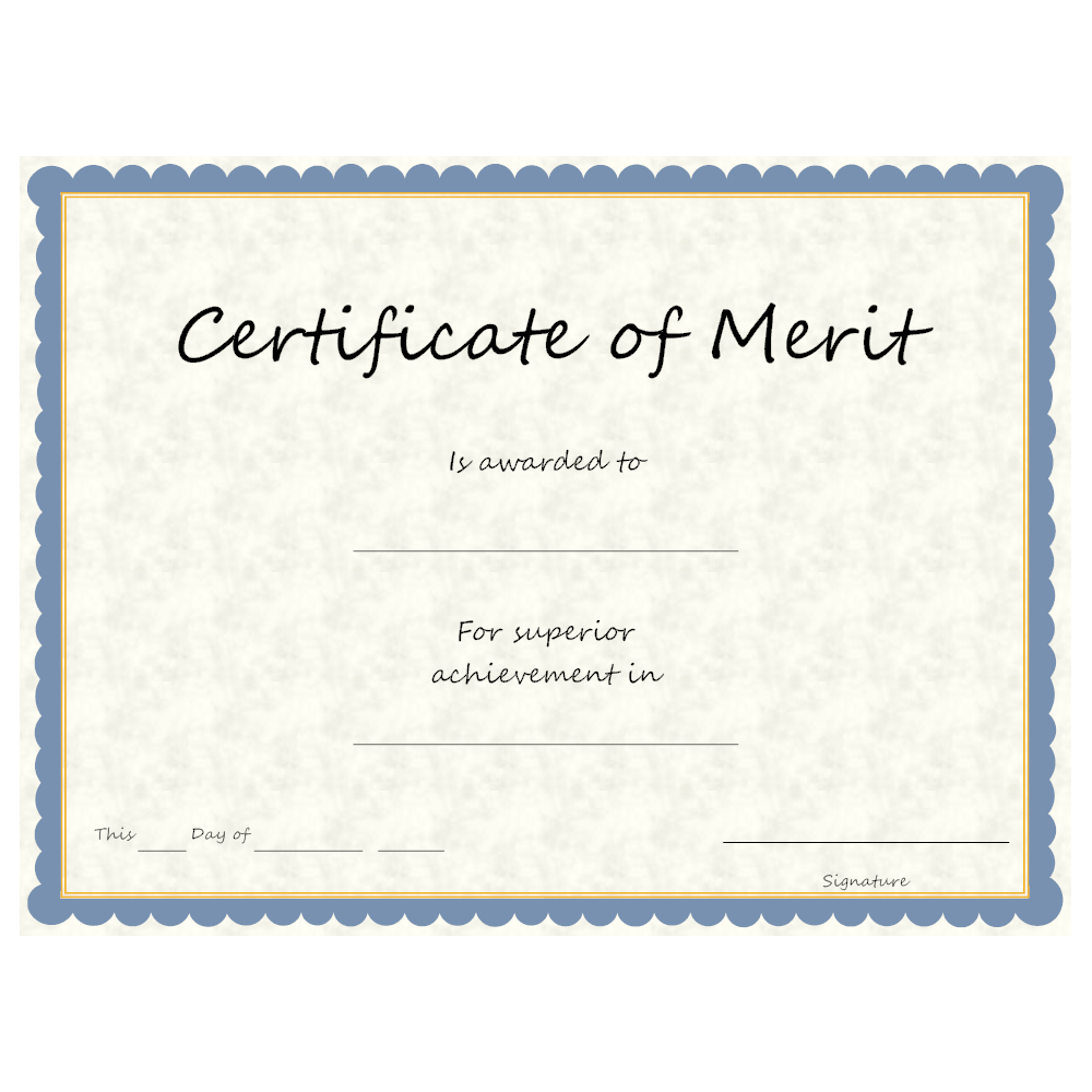 Example Image: Certificate of Merit