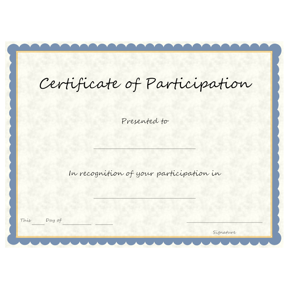 Example Image: Certificate of Participation
