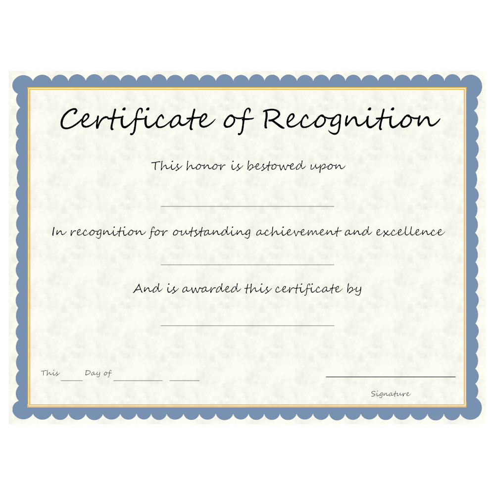 Elegant Text In This Example: This Honor Is Bestowed Upon. Certificate Of  Recognition Intended Examples Of Certificates Of Recognition