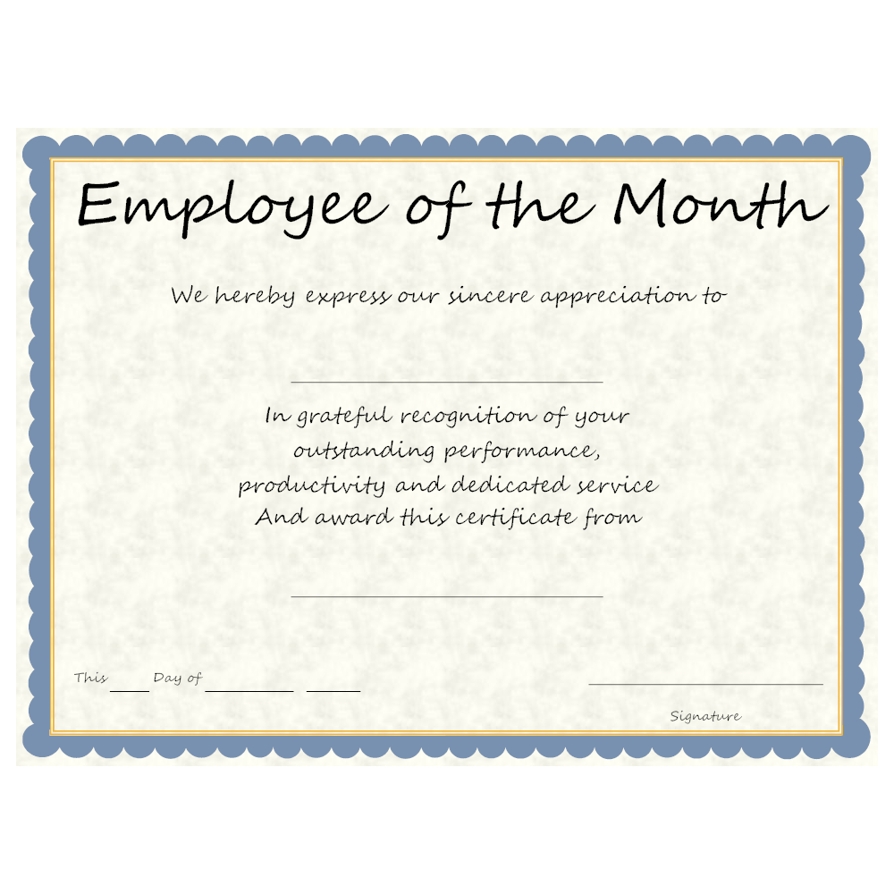 Employee of the month award for Employee of the month certificate template with picture