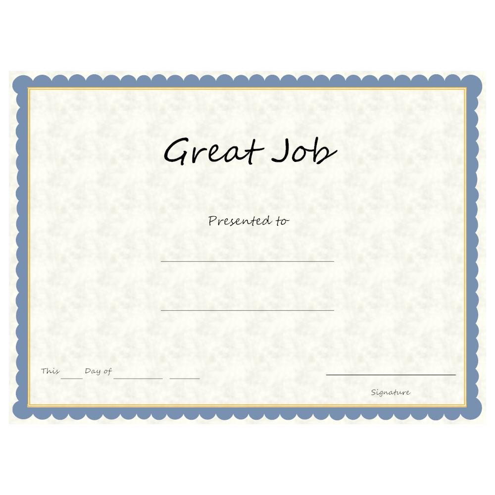 Example Image: Great Job Award