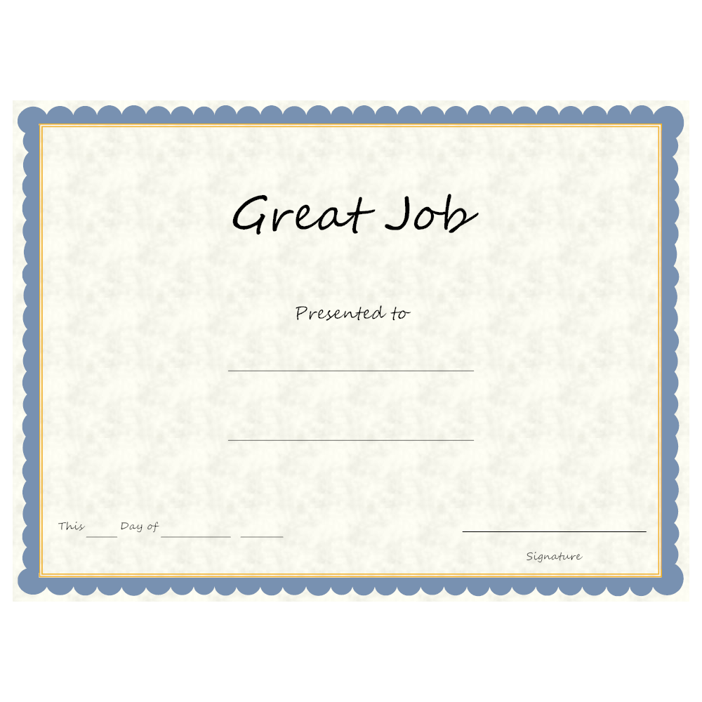 Example Image: Great Job Award