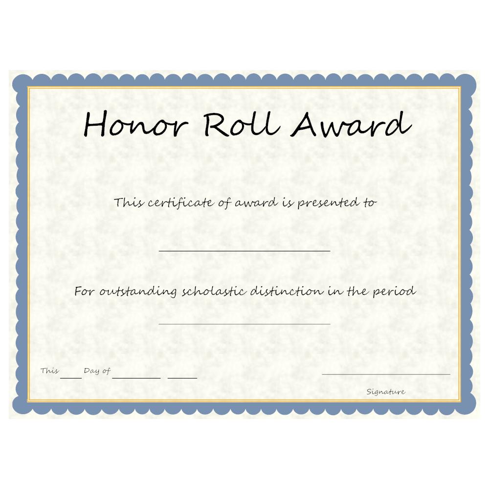 Example Image: Honor Roll Award