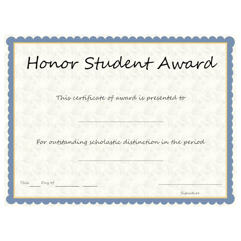 Example Image: Honor Student Award