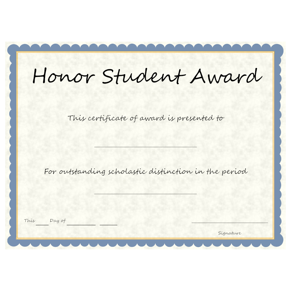 Example Image: Honor Student Award
