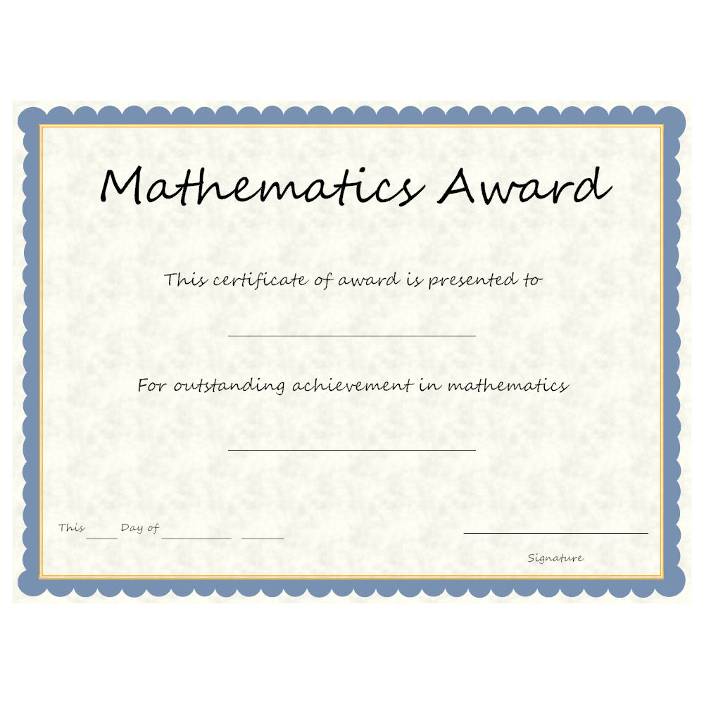 Example Image: Mathematics Award