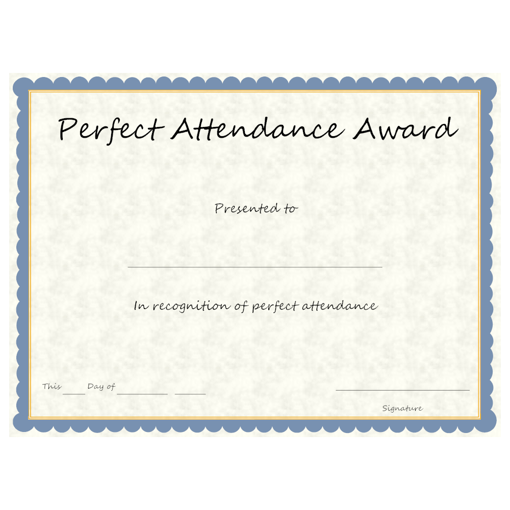 Example Image: Perfect Attendance Award