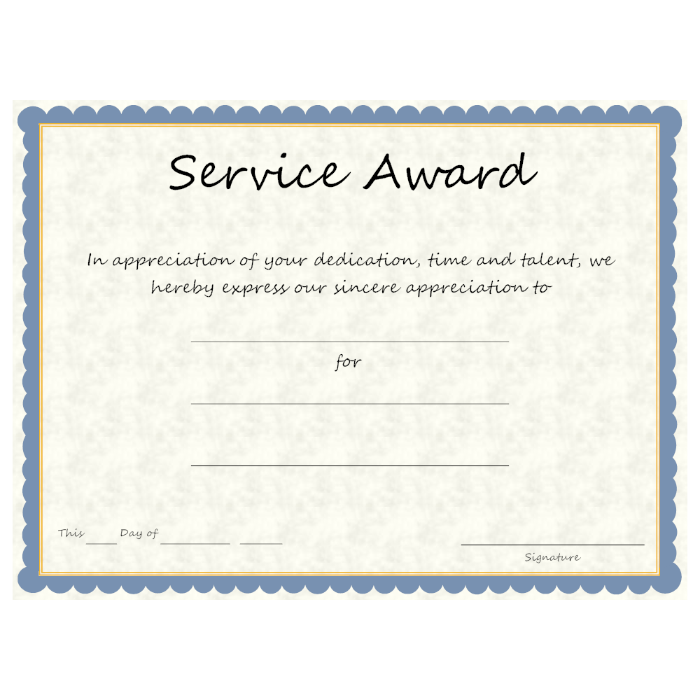 Example Image: Service Award