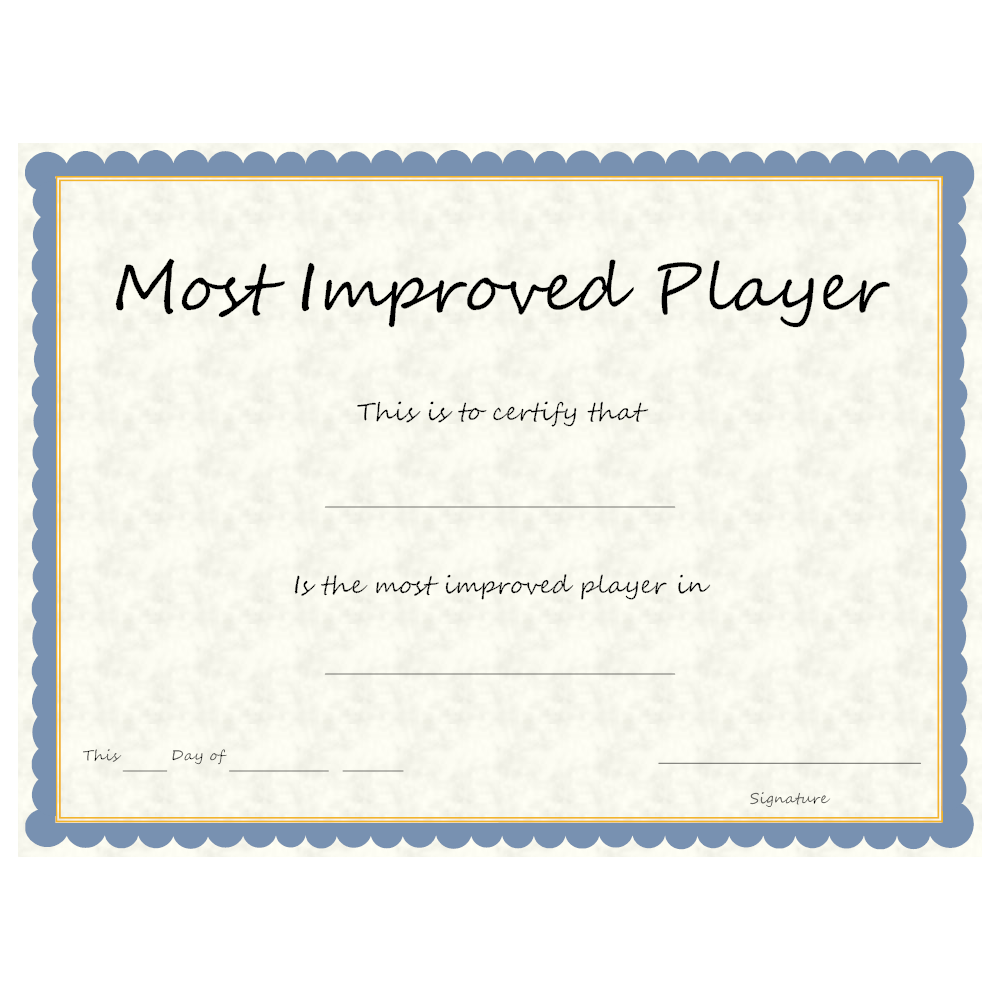 most improved player certificate