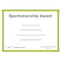Certificate templates sports sportsmanship award yelopaper Images