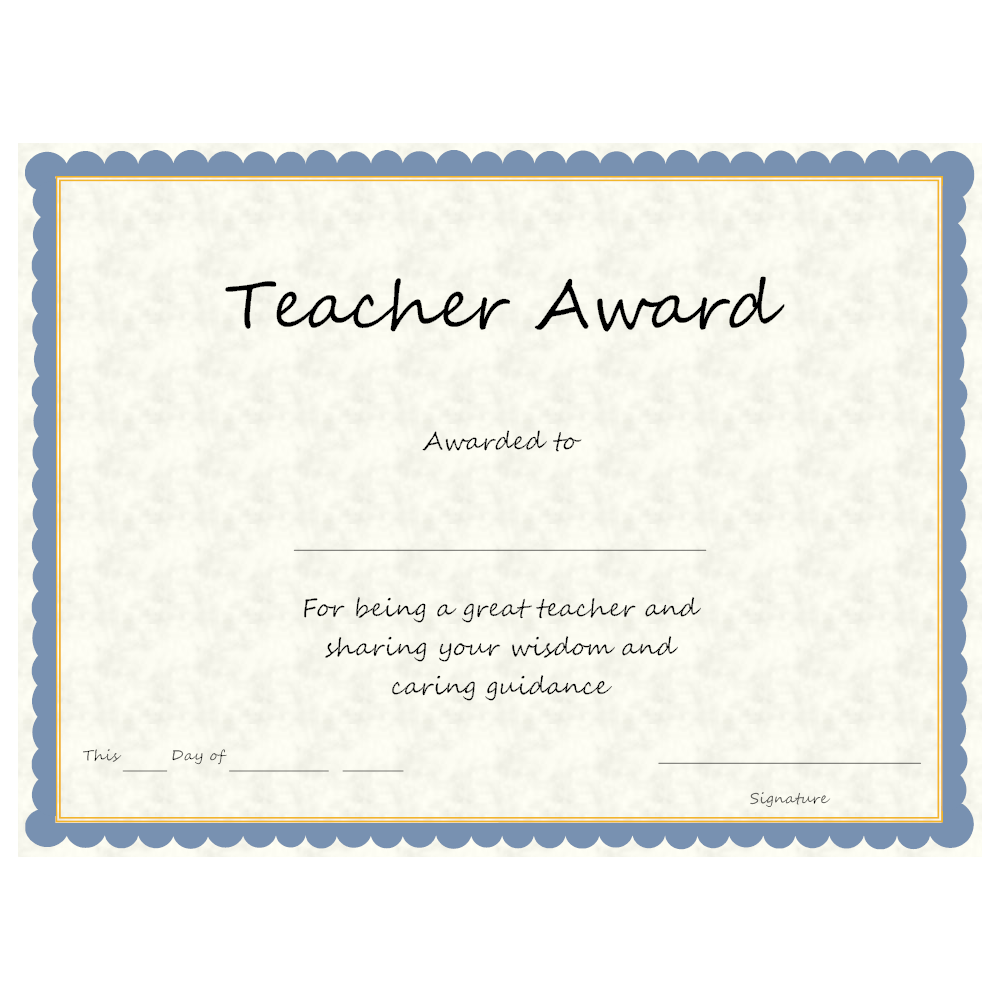 Example Image: Teacher Award