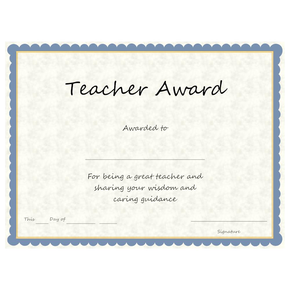 Example Image: Teacher Award