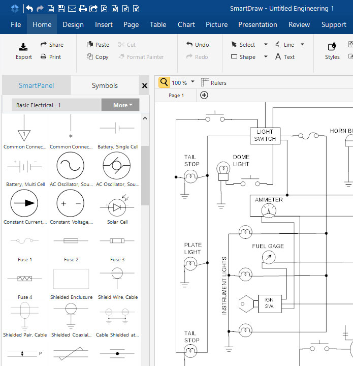 circuit diagram maker free download online app rh smartdraw com electrical schematic diagram software electrical schematic drawing software