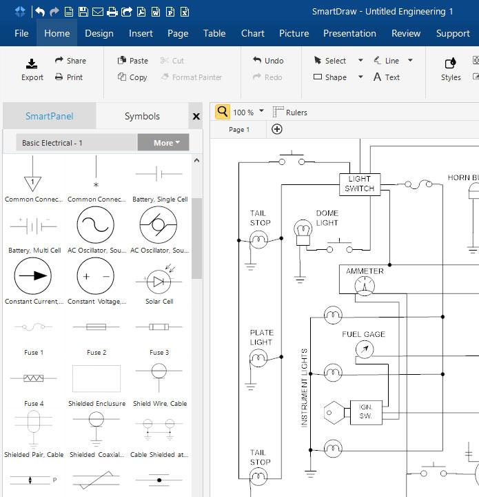 circuit diagram maker free download online app rh smartdraw com circuit wiring diagram software Electronic Circuit Diagrams