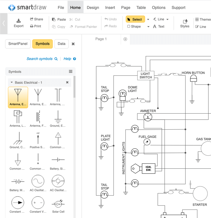 schematic diagram software free download or online app rh smartdraw com Drawing a Circuit Diagram with Batteries Simple Circuit Diagrams Image Battery Bulb