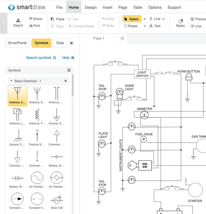 schematic diagram software free download or online app rh smartdraw com Generator Wiring Diagram Delco Starter Wiring Diagram